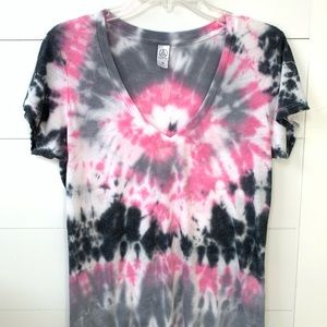 Pink and grey tie dye t-shirt top